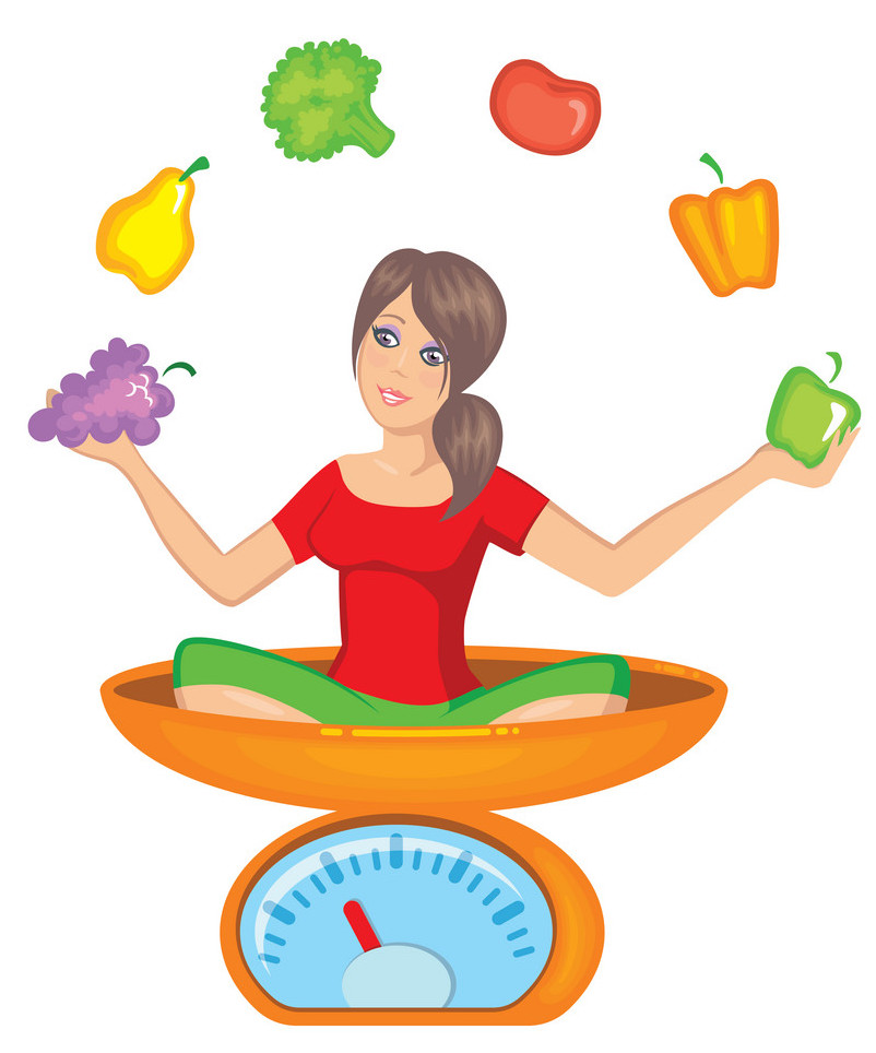 The girl sits on scales and juggles with fruit and vegetables
