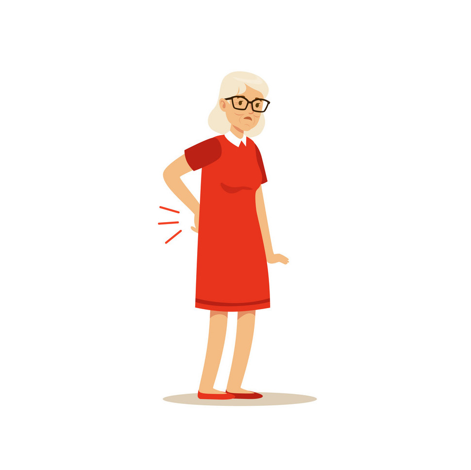 person in back pain elderly woman
