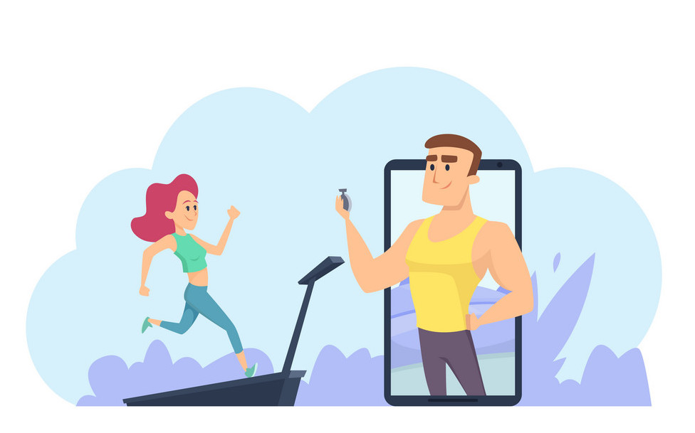 Online fitness coach. Personal training vector concept. Online training vector illustration with running girl. Fitness coach watching to woman do exercise